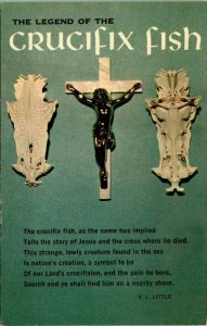 Postcard Legend of the Crucifix Fish Jesus Christian Chrome Unposted 1617