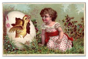 Chick Breaks Out of Giant Egg Victorian Trade Card *VT15