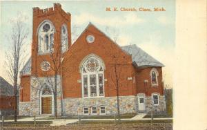 Clare Michigan~Methodist Episcopal Church~Large Tower & Stained Glass~c1910 PC