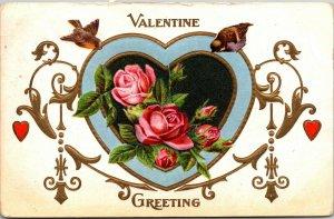 Valentine Greeting - ROSES - BIRDS- HEARTS - VINTAGE - POSTCARD PC HEART