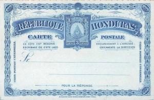 Republica Honduras Blue 3 Centavos Postal Antique Non-Postcard Back J73872