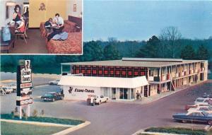 Grove City OH~Econo-Travel Motor Hotel~Air View~Family Enjoying Room~1960s
