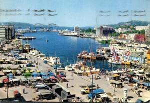 View of the Harbor at Bergen, Norway - pm 1970