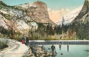 D/B People at Mirroe Lake in Winter Yosemite CA 1910