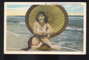 CROSS WORD PUZZLER FLORIDA BEACH BATHING BEAUTY SIMSUIT GIRL OLD POSTCARD