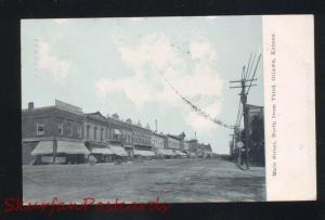 OTTAWA KANSAS DOWNTOWN MAIN STREET SCENE ANTIQUE VINTAGE POSTCARD 1909