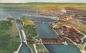 SAULT STE. MARIE, Ontario, 1960s; Aerial view of Canadian Locks