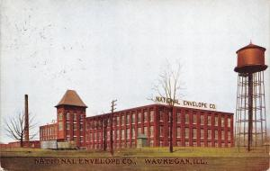 Waukegan Illinois~National Envelope Co~Factory~Water Tower~1908 Postcard
