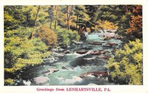 Lenhartsville Pennsylvania Scenic River View Greeting Antique Postcard K86264