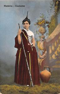 Spain Old Vintage Antique Post Card Costume Madeira Unused