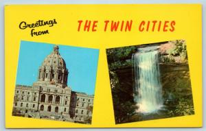 Postcard MN Dual View Greetings From Minneapolis & St Paul Vintage O18