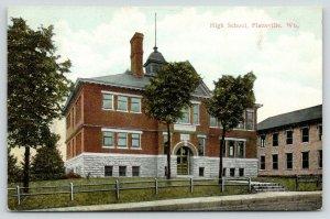 Platteville Wisconsin~High School Built 1905~Steps to Sidewalk Across Lawn~1911