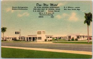 Donna, Texas Postcard DON-WES MOTEL Apartments Highway 83 Roadside Linen 1950s