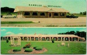 Cameron, Missouri Postcard RAMBLER MOTEL & RESTAURANT Highway 69 Roadside c1960s