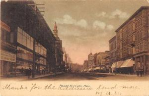 Lynn Massachusetts Market Street Antique Postcard J51365