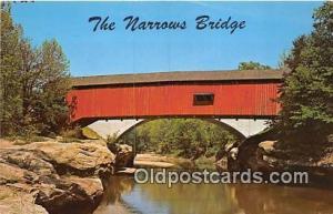 Covered Bridge Vintage Postcard Narrows Bridge Turkey Run State Park, IN, USA...
