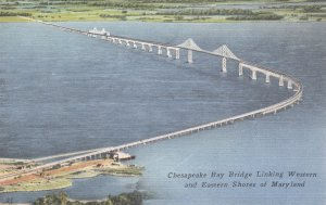 P1802 vintage unused chesapeake bay bridge links west and east shores  maryland