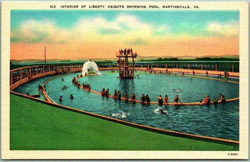 Martinsville Virginia Postcard LIBERTY HEIGHTS SWIMMING POOL Bathing Scene Linen