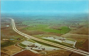 Postcard OH Ohio Turnpike Youngstown Aerial View Unposted