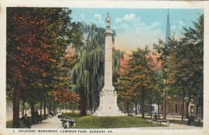 SUNBURY, Pennsylvania, PU-1926; Soldiers' Monument, Cameron Park