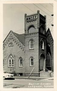 RPPC Baptist Church, LaGrande, OR, Oregon, Defender (1940's) Real Photo