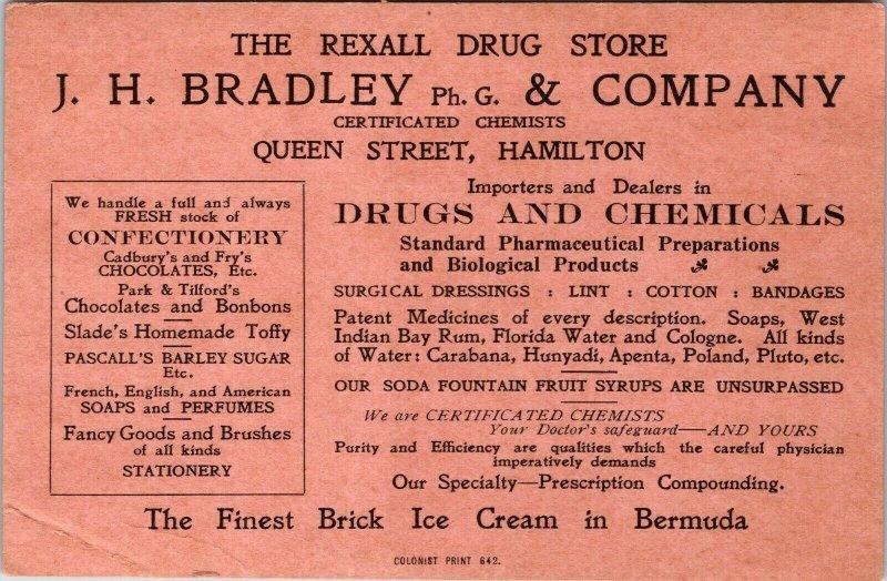 THE REXALL DRUG STROE - TRADE CARD - SCHILLINGS TO DOLLAR - BRICK ICE CREAM