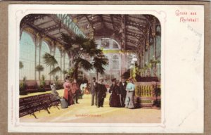 P1351 old unused postcard interior view gruss aus karlsbad sprudel-colonnade