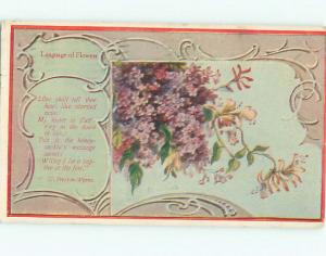 Pre-Linen Language Of Flowers signed BEAUTIFUL VIOLET FLOWERS AC4073