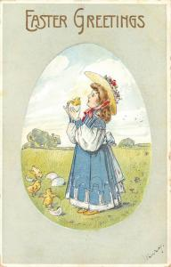 Victorian Easter~Little Girl Holds Up Chick Still in Shell~Egg Portal~Embossed