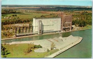 Port Colbourne, Ontario Canada Postcard Aerial View ROBIN HOOD FLOUR MILL 1967