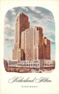 CINCINNATI, Ohio~OH   NETHERLAND HILTON HOTEL & Street View  1966 Postcard