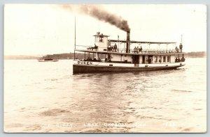 Lake Okoboji Iowa~Passenger on Deck of The Queen~Excursion Steamer~1930s RPPC
