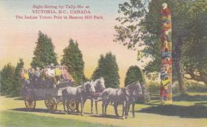 Sight Seeing,Horse and Carriage,The Indian Totem Pole in Beacon Hill Park, Vi...