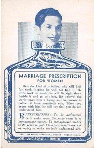 Marriage Prescription for Women Arcade Movie Star Unused
