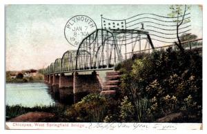 1908 Chicopee, West Springfield Bridge Postcard