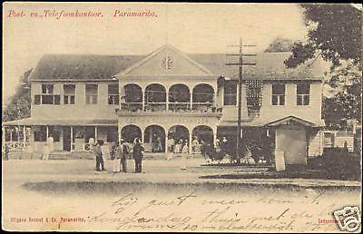 suriname, PARAMARIBO, Telephone and Post Office (1904)