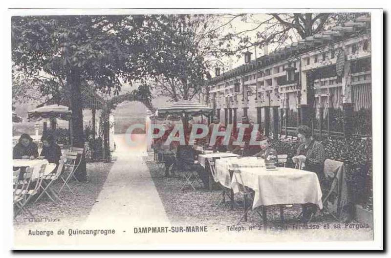 REPRO Inn of Quincangrogne Vintage Postcard DAmpart on the Marne Its terrace an