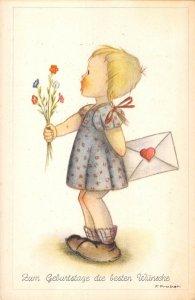 US3374 Artist signed Probst Geburtstage die besten Wunsche Girl Flowers, Mail