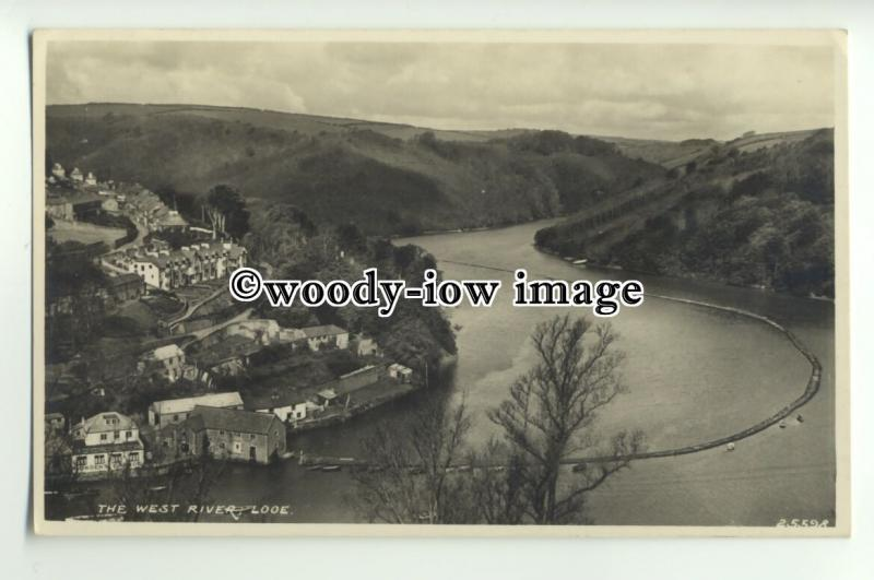tp9884 - Cornwall - Aerial View of the West River ( & Boom ??)  Looe - postcard