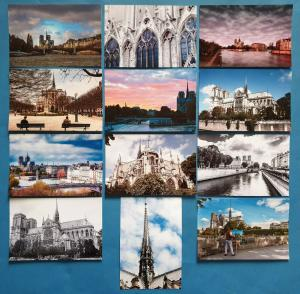 Set of 12 New Glossy Postcards, NOTRE DAME Cathedral Church Paris France 71O