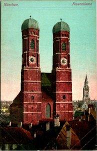 Munich Germany Frauentuerme Lady Towers Postcard Unused (33437)