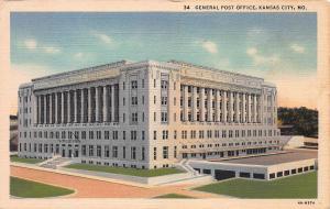 General Post Office, Kansas City, Missouri, Early Linen Postcard, unused