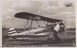 Focke Wulf FW 44 German Vintage 1936 Winter Olympics Frank Plane Postcard