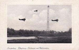 Biplanes flying by tower, Soesterberg liegkamp, lichmast met Radiostation, PU...