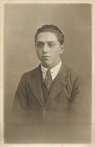 Early photo postcard social history young elegant man portrait