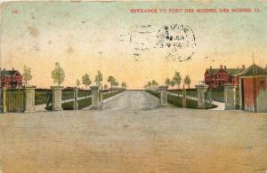 Des Moines, Iowa, IA, Entrance to Fort Des Moines, 1908 Vintage Postcard e1614
