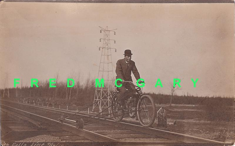 1908 High Falls Railway Ontario: Exec Bicycles on Rails