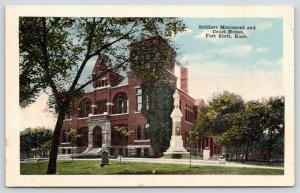 Fort Scott Kansas~Soldiers Monument & Bourbon County Courthouse~1920s Postcard