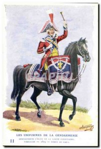Old Postcard The uniforms of the gendarmerie Gendarme MArechausee d & # 39eli...
