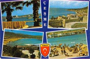 B110677 Turkey Cesme multiviews Beach, Plage Castle Panorama